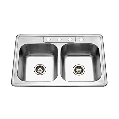 (Houzer 3322-8BS4-1 Glowtone Series Top Mount 4-hole 50/50 Double Bowl Kitchen Sink with 8