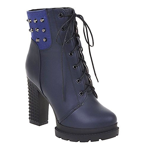 Womens Lace Foot Boots Western High Charm Short Blue Up Platform Heel 5wBUxq