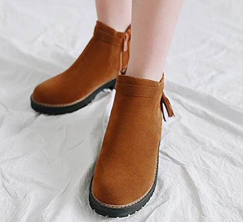 Brun Aisun Fermeture Eclair Boots Femme Frange Bottines Low Classique zUq187z