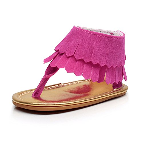 Baby Girls Stylish PU Leather with Tassel Rubber Sole Summer Baby Sandals Dress Shoes (12-18M, Suede hot Pink)