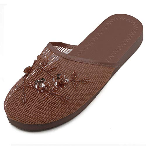 Cammie Women's Floral Beaded Mesh Brown Chinese Slippers 9 B(M) US (Beaded Net)