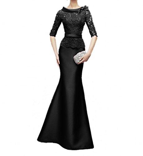 Abendkleider Schwarz La Figurbetont Brautmutterkleider mia Fuchsia Langes Meerjungfrau Ballkleider Dunkel Spitze Braut Damenrock 1wOCAqxwF