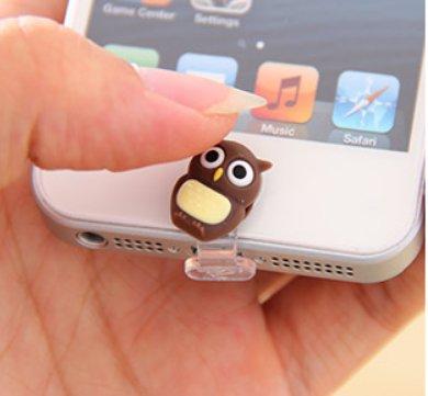 ZOEAST® Penguin Owl Red Ninja Yellow Duck Deer Lightning Connector Data Port iPhone 5 5C 5S SE 6 6S Plus IPad 4 IPad mini Air 2 iPad Pro Dust Plug Charm Pluggy home button Sticker (Owl )