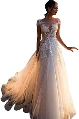 ae5bcb2187 Annxrose Women s A-Line Sheer Scoop Neck Cap Sleeve Appliques Tulle Wedding  Dress Bridal Gown