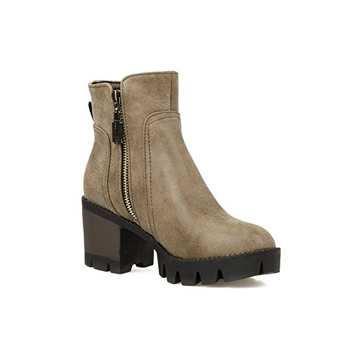 Waterproof Road Boots Toe Boots AN Zip A High DKU01850 Smooth Gray Zipper Closed Warm Bootie Urethane Lining amp;N Heel Urethane Outdoor Leather Womens w7fPt