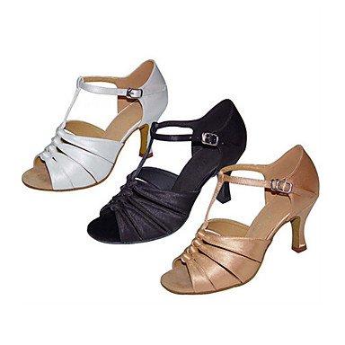 XIAMUO Anpassbare Damen Tanz Schuhe Satin Latin Jazz Swing Salsa Schuhe Sandalen angepasste HeelPractice Anfänger professionelle, Schwarz, US 9 / EU 40/UK7/CN41