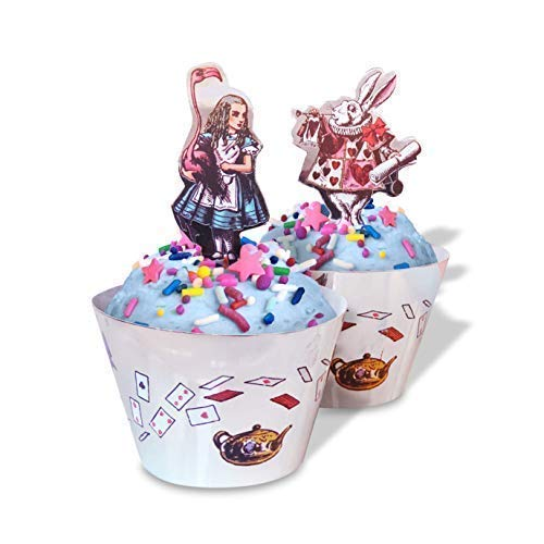 Alice in Wonderland Cupcake Decorations - Tea Party Supplies with Alice in Wonderland Characters - Set of 24 Pieces Cupcake Topper and 24 Pieces Cupcake Wrapper - Good for 24 Cupcakes -