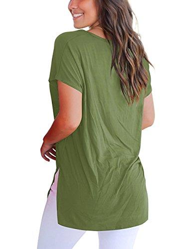 Donna Shirt Tee Imixcity Split T Side Boyfriend Verde YqwtTtaX