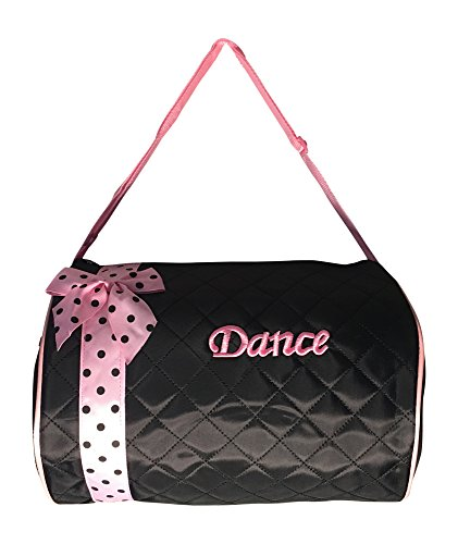 Girls Dance Duffle Bag Quilted Light Pink Ribbon with Black Polka Dots
