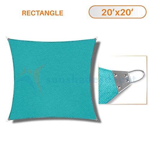 (Sunshades Depot 20' x 20' Reinforcement large Sun Shade Turquoise Green Square Heavy Duty Metal Spring/Steel Wire Outdoor Permeable UV Block Fabric Durable Steel Wire Strengthen 160 GSM )