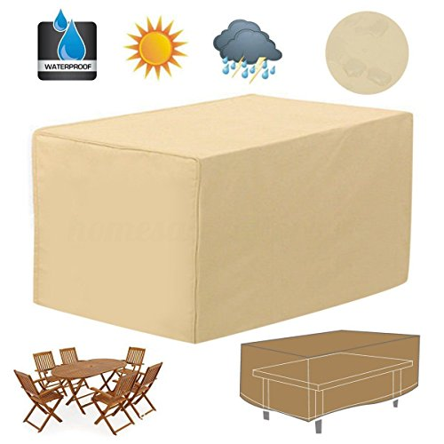 48' Wood Top Table (48'' Rectangular Patio Table Cover Garden Outdoor Furniture Rain Dust Protection)