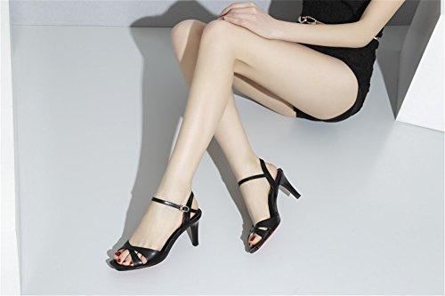 Hebilla Club de para Zapatos La Boda de Un PU Blanco Rosa Carrera de y Primavera Sandalias Zapatos Oficina Negro Vestido Hebilla Mujer Verano Cuña rUX8q7xU