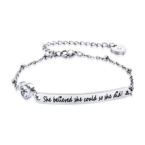 """Dec.bells Inspirational Bracelet Silver Charm Bracelet with Small Heart Zirconia """"She Believed She Could So She Did"""" Encourage Jewelry Gift for Her Women (Silver) -"""
