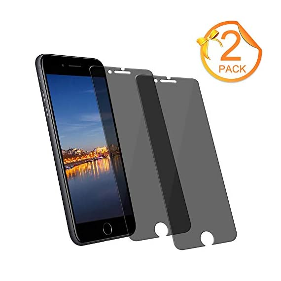 - 41u6ykLXWYL - [2-Pack] Loopilops iPhone 8 Plus Tempered Glass Privacy Screen Protector [No Bubbles][9H Hardness] Compatible with Apple iPhone 8 Plus and iPhone 7 Plus and iPhone 6 Plus Privacy