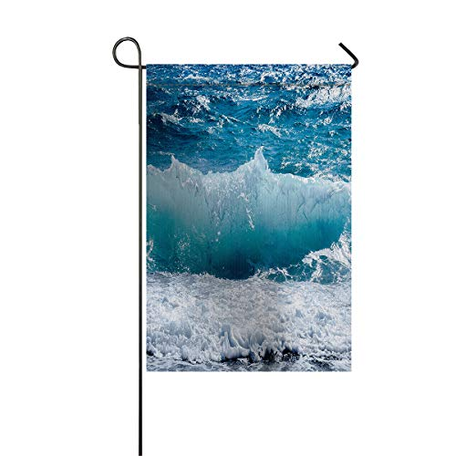 LIDU Garden Flags House Banner Decorative Flags Home Outdoor Valentine, Majestic Rolling Wave Slamming on Rocks of The Sea Coastline Ocean Scene Welcome Holiday Yard Flags, Double Sides 28 x 40inch