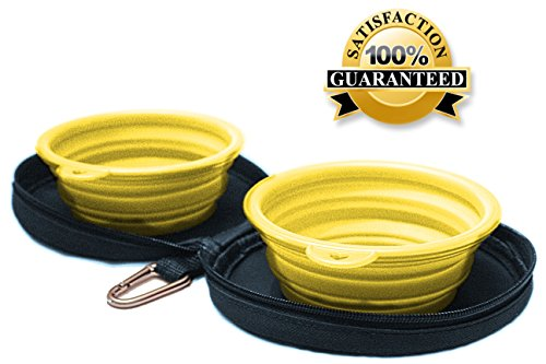 Northern Outback Travel Pet Bowl Set - 2 Collapsible 2 CUP Silicone Bowls with BONUS Carabiner - BEST DOG OR CAT BOWL - Camping Hiking - BPA FREE - Blue carrier with durable yellow dog travel bowls