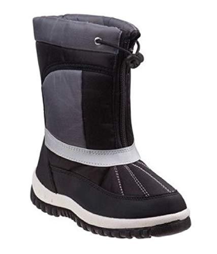 Rugged Bear Boys Zip and Lace Snow Boots, Kids, Black/Grey, 3 M US Big Kid