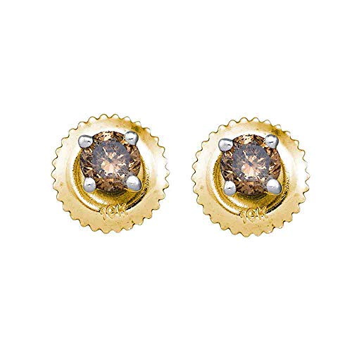 Mia Diamonds 10kt Yellow Gold Womens Round Cognac-brown Color Enhanced Diamond Solitaire Screwback Earrings (1.00cttw) (I2-I3)