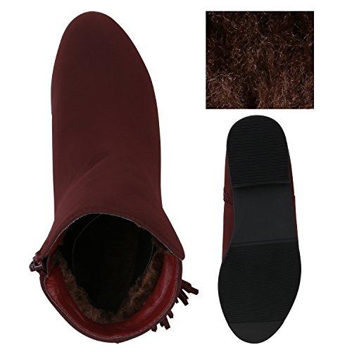 Stiefelparadies Damen Klassische Stiefeletten mit Blockabsatz Quasten Metallic Warm Gefüttert Dunkelrot Cabanas