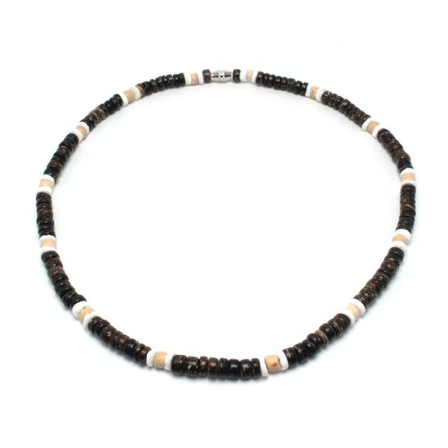 Green Nipa Hut 5mm Dark Brown Coco Bead Hawaiian Surfer Necklace with White Puka Shell and Coco Bead Accents, Barrel Lock (18 IN)