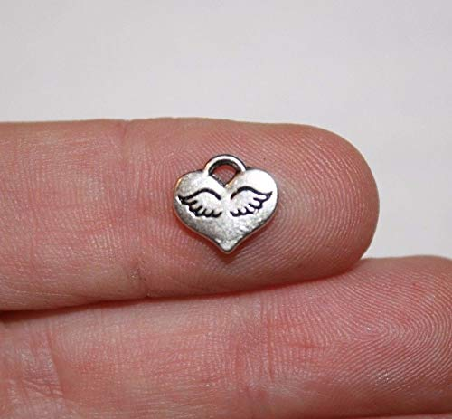 Pendant Jewelry Making 16 Winged Heart Charms Antique Silver Tone 10 x 9 mm ()
