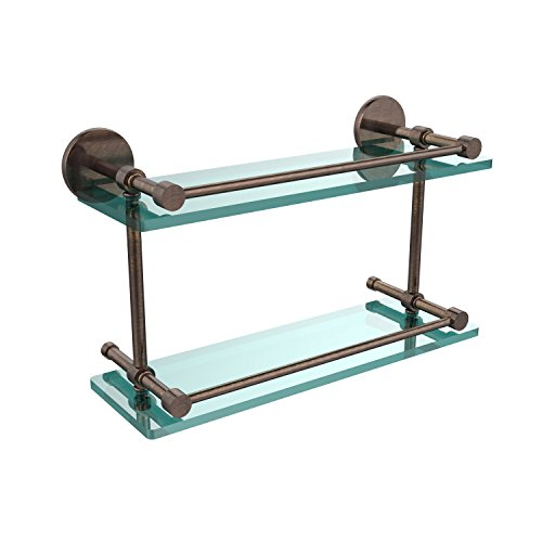 Allied Brass P1000-2/16-GAL-VB 16-Inch Tempered Double Glass Shelf with Gallery Rail, Venetian Bronze by Allied Precision Industries