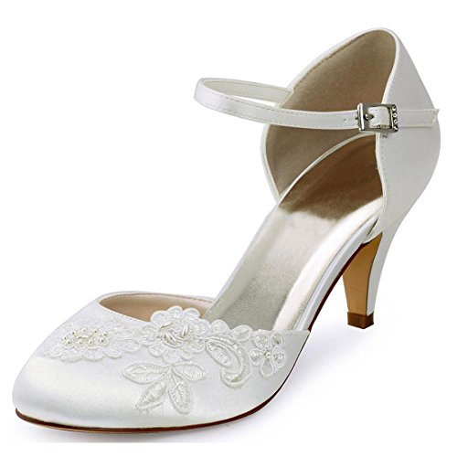 Minishion Womens Lace Flower Ankle Strap Satin Evening Formal Party Wedding Shoes White-5cm Heel U7g7dJea