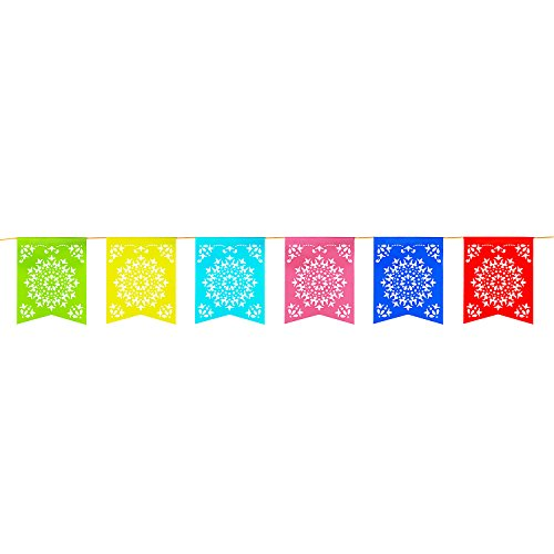 12 Foot Long Rainbow Multicolored Flag Mexican Sun Del Sol Design Plastic Garland Drop Banner for Party Decorations, Birthdays, Event Supplies, Fiesta Festivals, Children & Adults by Super Z Outlet (Backyard Wedding Ideas Party)