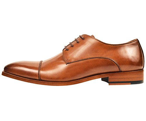 Asher Green Mens Genuine Leather Cap Toe Lace Up Oxford Dress Shoe with Wood-Like Sole, Style AG3887