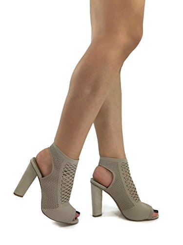 D Fashion Women's Stretch Sweater Ankle Bootie With Peep Toe Block High Heel, Grey Taupe, (Taupe High Heel Peep Toe)