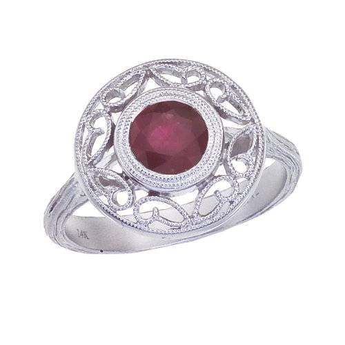 0.80 Carat ctw 14k Gold Round Red Ruby Filigree Design Engagement Cocktail Anniversary Fashion Ring - White-gold, Size 5