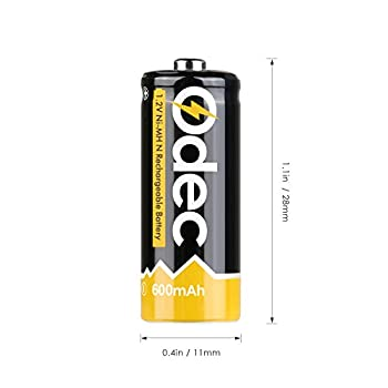 Odec N Battery, N Cell Rechargeable E90 Lr1 910a Um-5 1.5v 600mah Ni-mh For Doorbell, Prayer Wheel, Electronic Toys & More (2 Pack) 4