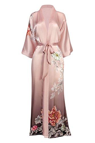 (KIM + ONO Women's Silk Kimono Robe Long - Floral Print, Botan- Peach Blush)
