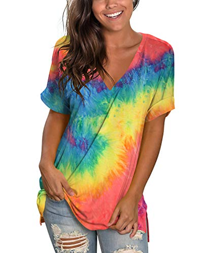 liher Women's Tshirts Casual V Neck Short Sleeve Loose Summer Tunic Tops