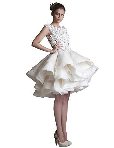 Weiß Spitze Puffy Erosebridal Rüsche Kurze Brautkleider Brautkleider 151qxwFOY