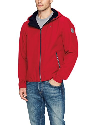 Tommy Hilfiger Men's Hooded Performance Soft Shell Jacket, Tommy Red, Large