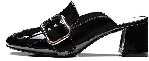 Calayre Femme Camaybe Fermé-orteil 6cm Bloc Talon Slip-on Mule Chaussures Noir