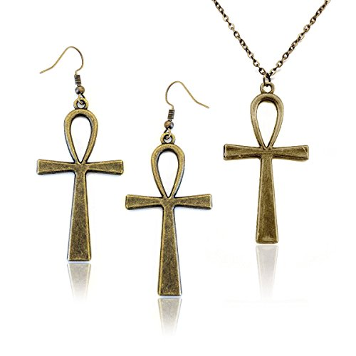 Cleopatra Costumes For Teenager (Antiqued Golden Egyptian Ankh Necklace and Drop Earring Set)