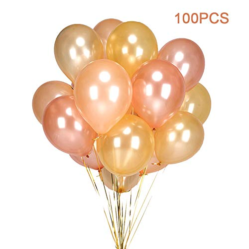 100PCS Gold & Rose Gold & Champagne Gold Color Party Balloons-12 inch Latex Helium Gold Balloons Rose Gold Balloons Champagne Gold Balloons for Party Decorations Supplies