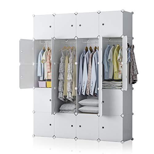 (YOZO Modular Wardrobe Plastic Portable Closet Organization Customizable Cube Storage Organizer Bedroom Armoire Dresser, 20 Cubes, Depth 18 inches, White )