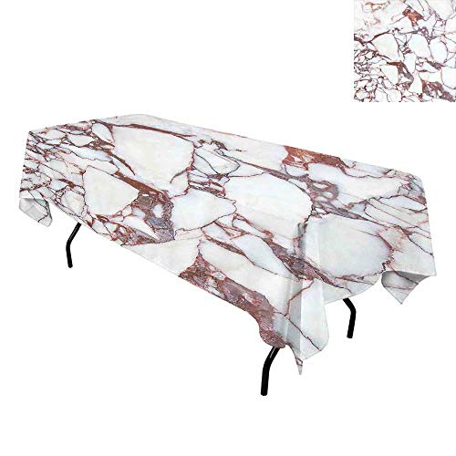 Marble,Tablecloth for Kitchen Dining Tabletop,Dolomite Rocks Pattern with Characteristic Swirls and Cracked Lines Abstract Art,for Dining Room,W60 x L120 Inch Beige Brown