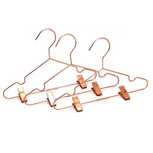 Koobay 50Pack 13'' Rose Copper Gold Shiny Metal Wire Top Clothes Hangers with Clips for Shirts Coat Storage & Display by Koobay (Image #1)