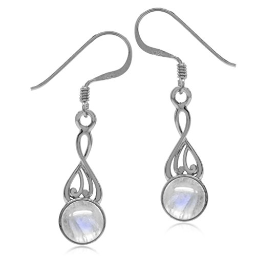 Fire Moonstone Earrings - Natural Moonstone White Gold Plated 925 Sterling Silver Victorian Swirl Style Dangle Hook Earrings