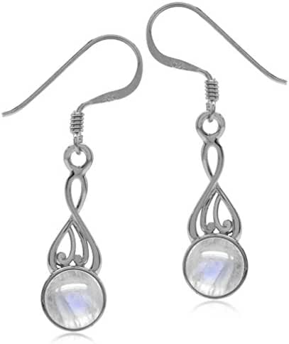 Natural Moonstone White Gold Plated 925 Sterling Silver Swirl Dangle Earrings