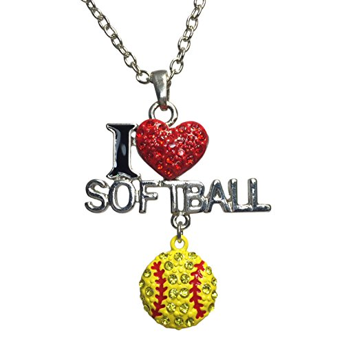 [I Love Softball Bling Rhinestone Silver Tone Necklace Dangle Charm] (Little Girl Gypsy Costumes)