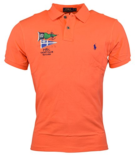 Polo Ralph Lauren Men's Nautical Flags Custom Fit Cotton Mesh Polo Shirt (X-Large, Desert Orange) (Mesh Cotton Rugby)