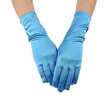 Satin Child Size 9.45Inch Long Formal Gloves for Flower Girl (White) Seven & Nine Service