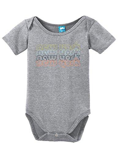 New York New York Retro Printed Infant Bodysuit Baby Romper Gray 6-12 - Broadway Nyc 9