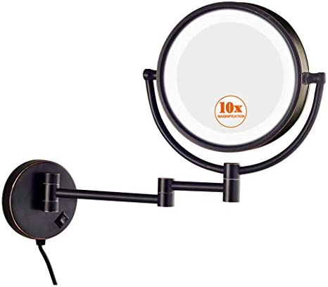 KWEE Makeup Mirror Wall Mount 10x Magnification, LED Lighted Double Sided Magnifying Makeup Mirror, 360 Swivel 12 Extension, for Bathroom Bedroom, Powered by Plug, 8.5 inch,Bronze