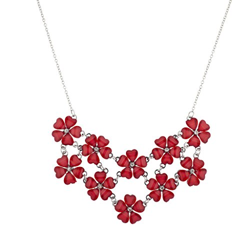 (Lux Accessories Silvertone Red Christmas Xmas Floral Flower Statement Necklace)